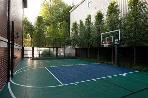 backyard basketball court exterior with