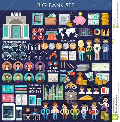 big bank big bank set stock vector image of illustration safe