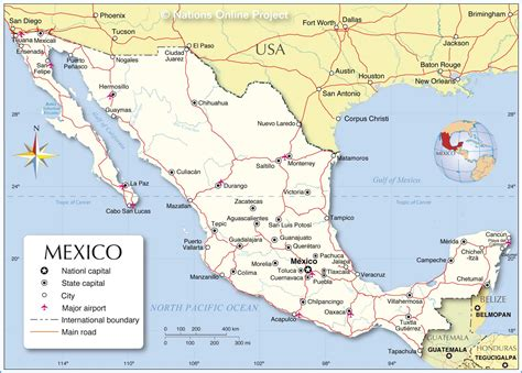 mexico in the map political map of mexico nations project