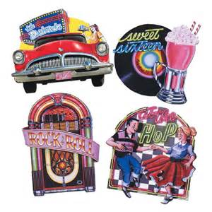 Large 50s diner rock and roll theme cutouts party wall decorations