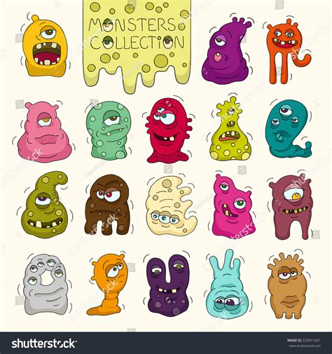 many doodle monsters vector set of bright monsters and aliens with many