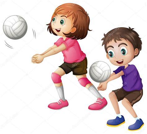 imagenes de niños jugando volibol ni 241 os jugando voleibol vector de stock 169 interactimages
