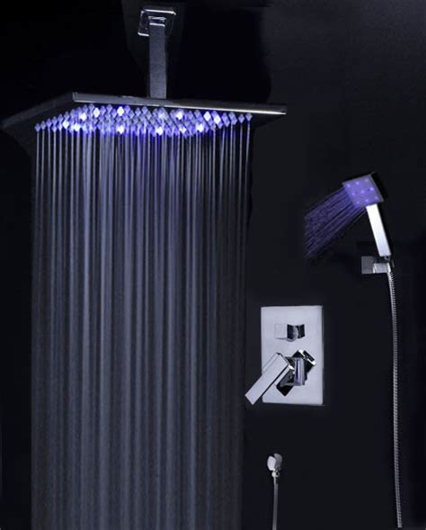 shower trim kit with ceiling mounted 12 quot led rain shower