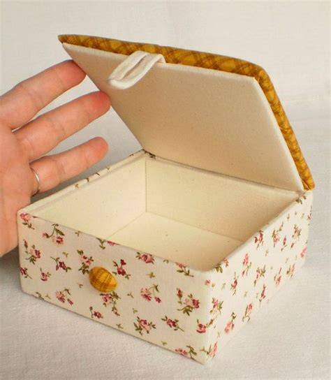 Handmade Fabric - handmade fabric box cozy brown quilting fabric covered