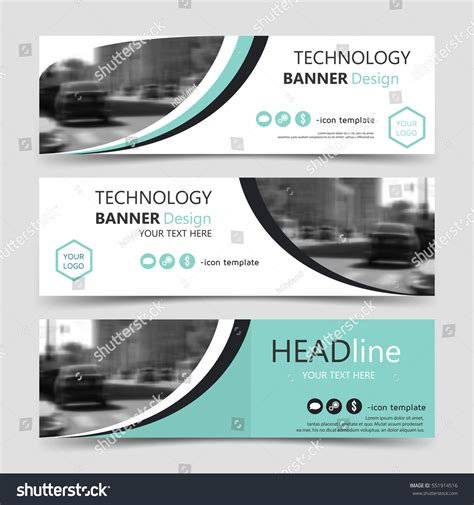 Set Horizontal Banner Templates Vector Corporate Stock Vector 551914516 Shutterstock Technology Banner Template