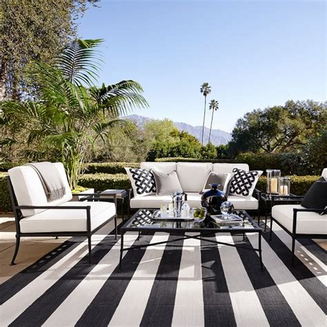 black and white stripe outdoor rug patio stripe indoor outdoor rug black williams sonoma