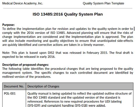 Design Verification Plan Vorlage Quality System Plan Template