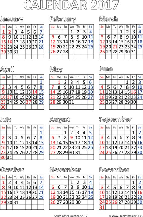 Republic Calendrier 2018 South 2017 Calendar Printable Free Printable Pdf