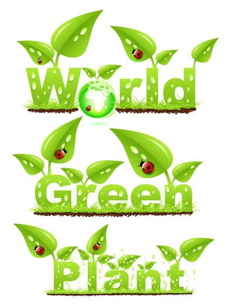Font Green leaves green fonts vector vectors free vector