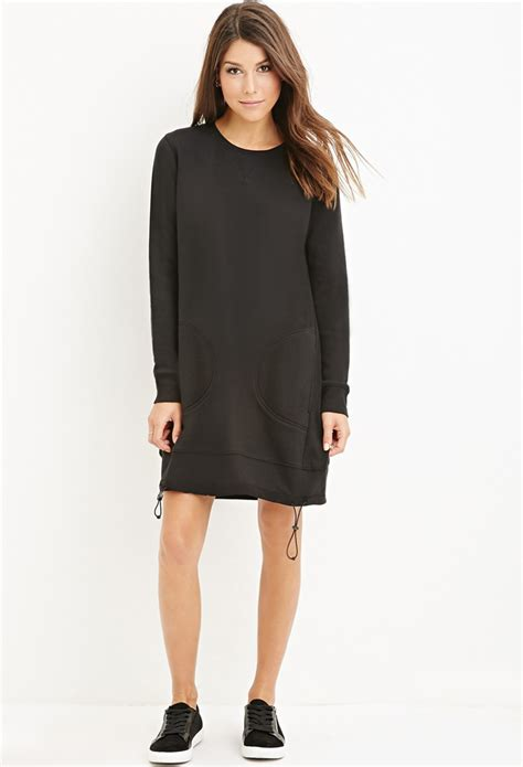 Dress Forever21 Black forever 21 drawstring sweatshirt dress in black