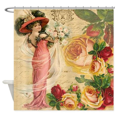 Vintage Shower Curtain Rose Lady Shower Curtain By Studio1027