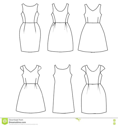 dress a doll template template dresses template set of flat sketch fashion