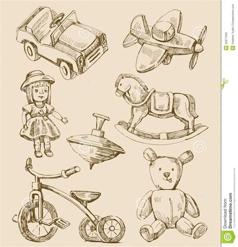 hand drawn vintage toys collection stock vector image