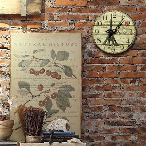 cafe home decor 12cm vintage eiffel tower wood wall clock tower vintage