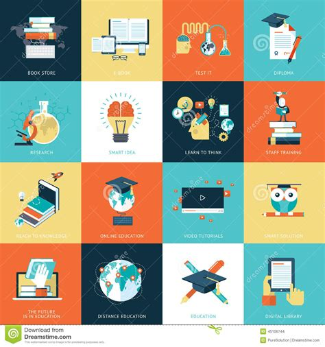 design icon book set of flat design icons for education stock vector