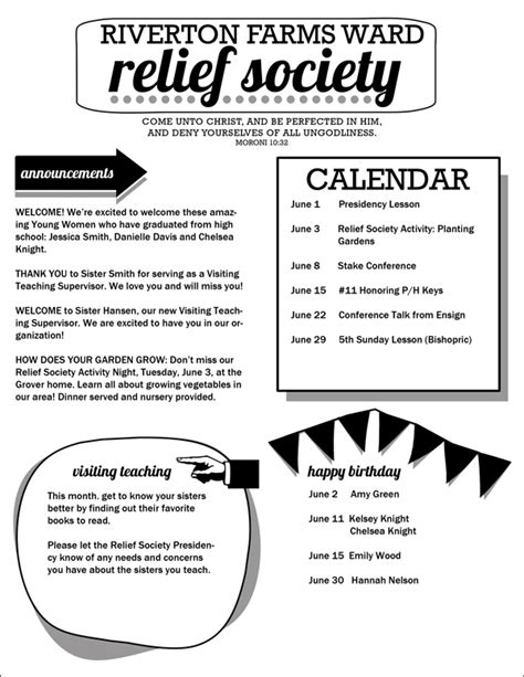 Relief Society Newsletter Template Free Relief Society Newsletter Template Customizable Pdf Jpeg Hang A Ribbon On The Moon