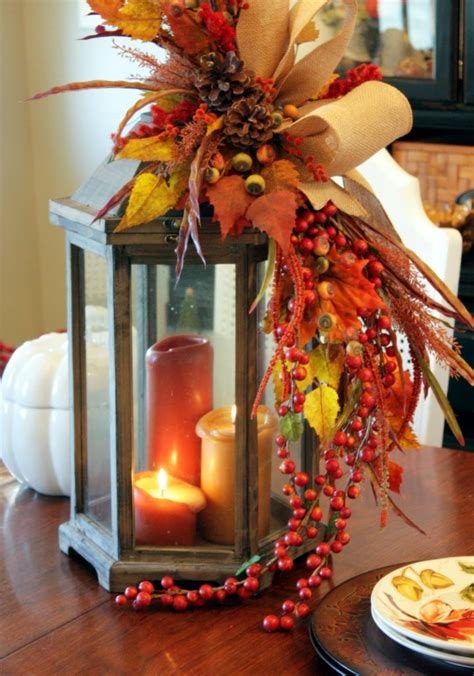 Lanterns Decorated With Flowers by Thanksgiving Centerpiece Ideas Treetopia