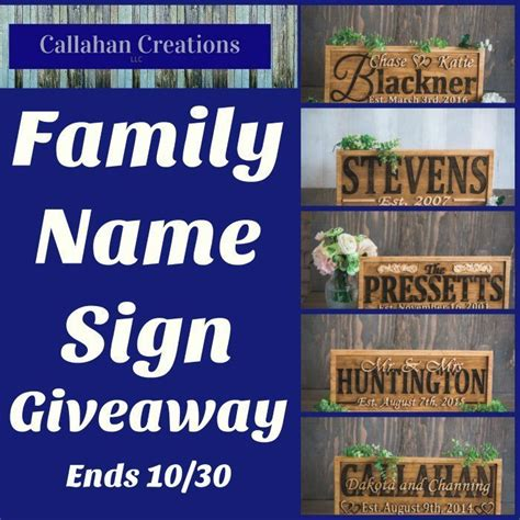 Giveaway Sign - callahan creations family name sign giveaway tales from a southern mom