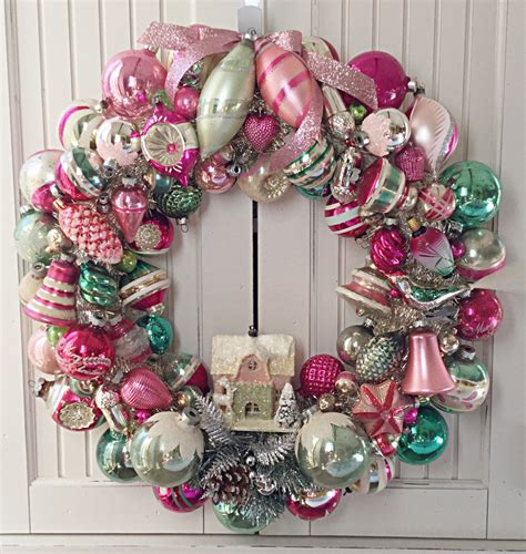 wreath decorations sample large pink green vintage christmas ornament wreath