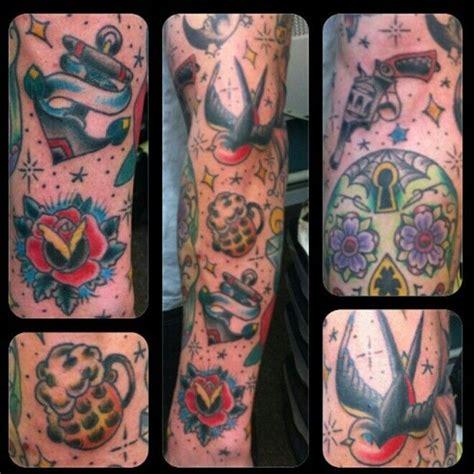 old school tattoo arm sleeve old school sleeve tattoo tattoos pinterest