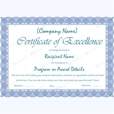 certificate of excellence template free 89 award certificates for business and school events