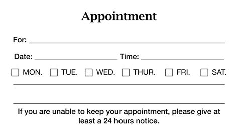 blank appointment card templates appointment reminder card template images