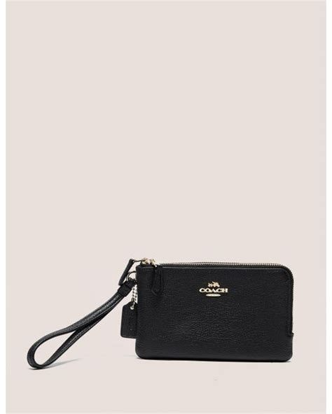 Coach Wristlet 2zip Black coach zip wristlet purse in black lyst