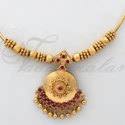 Childrens Necklace Short Chain Ruby Stone Studded Pendant Gold Plated Buy India Jewelry Online
