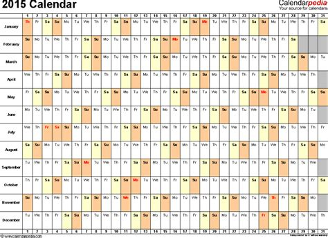2015 Calendar Xls