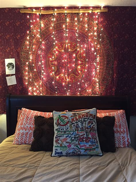 bedroom bohemian wall tapestry and diy lights