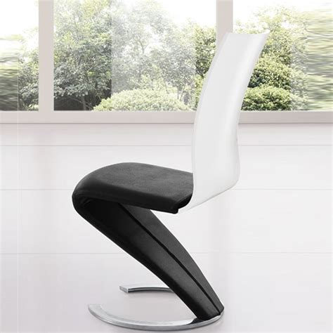 Zoro Z Shaped Dining Chair In Black And White 21392 Black And White Dining Chair