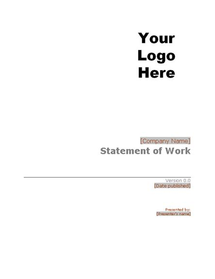 statement of work template word statement of work statements templates
