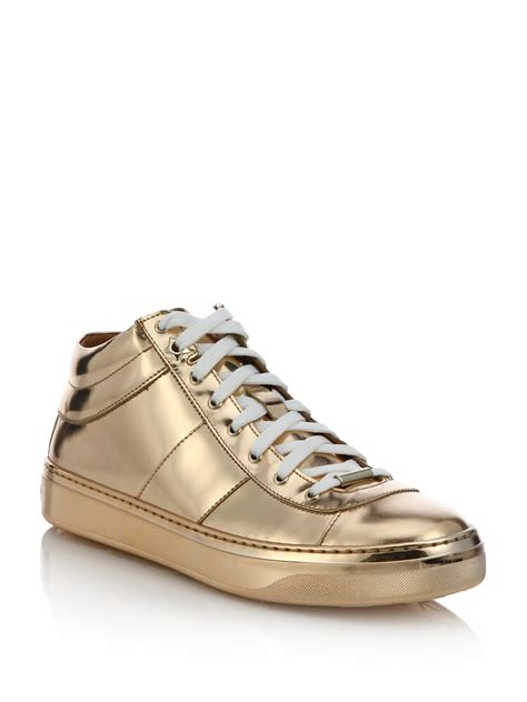 jimmy choo sneakers jimmy choo bells metallic leather sneakers in metallic lyst