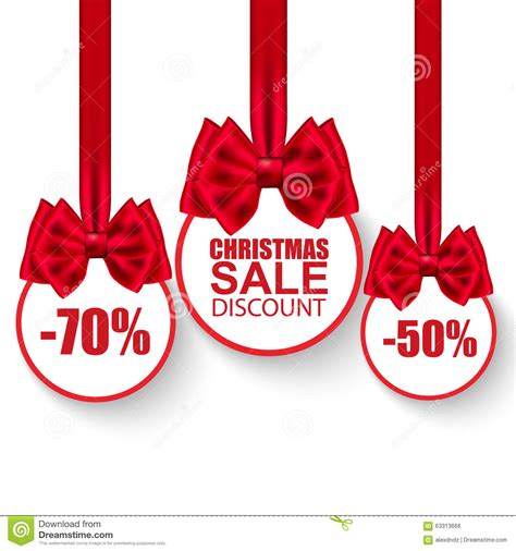 set of christmas sale paper balls with bows stock vector