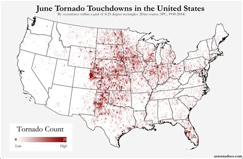 map usa states forms here s where tornadoes typically form in june across the