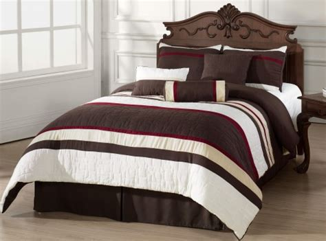 queen size bed in a bag comforter sets 7pc comforter set burgundy beige brown white stripes