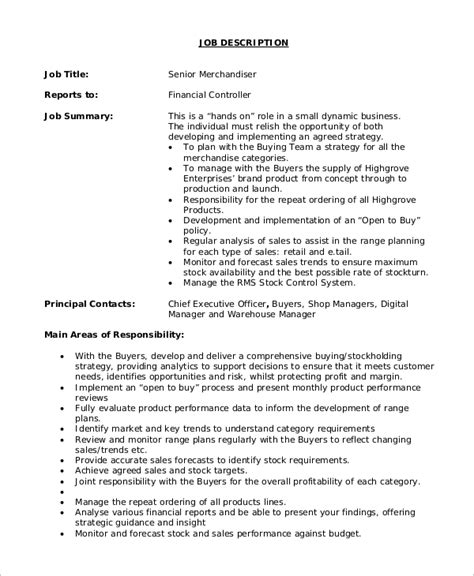 Merchandiser Resume Sle Free Sle Resume For Merchandiser Description 28 Images