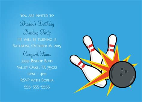 bowling birthday card template bowling invitation birthday by cardsdirect