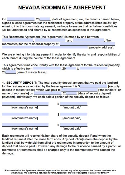 Free Nevada Roommate Agreement Template Pdf Word Nevada Residential Lease Agreement Template