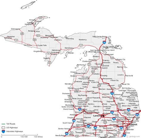 road map of michigan usa map of michigan cities road maps of the united states