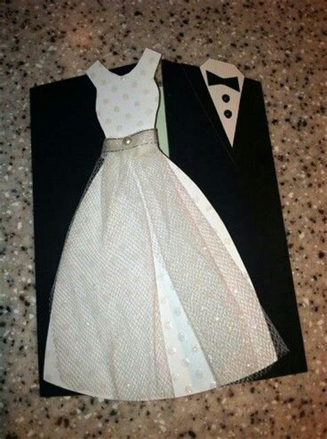 Velin Dress wedding invitation white wedding dress and a black suit