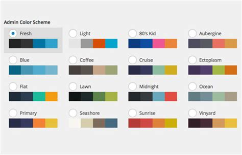 themes colour palette customize wordpress admin color scheme hongkiat