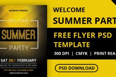 Free Summer House Party Flyer Psd Template Designyep Welcome Flyer Template