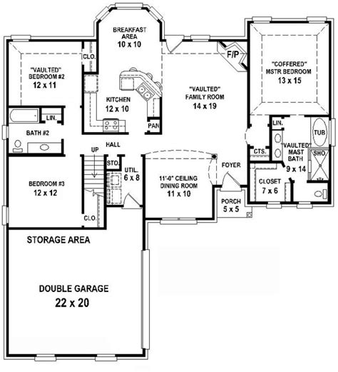 2 Bedroom 2 Bath Floor Plans 654350 3 Bedroom 2 Bath House Plan House Plans Floor