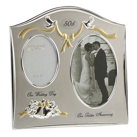 50th Golden Gold Wedding Anniversary Silver Plated Photo