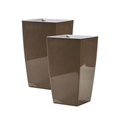 vasi alti plastica set di 2 vasi alti color bruno in plastica riciclabile al