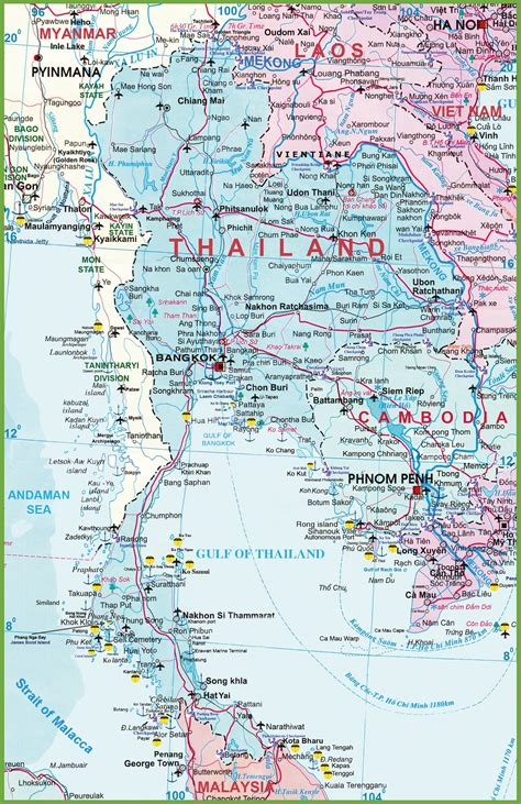 printable map thailand large detailed map of thailand with airports resorts and