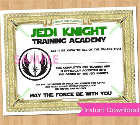 wars jedi certificate template free jedi academy certificate instant