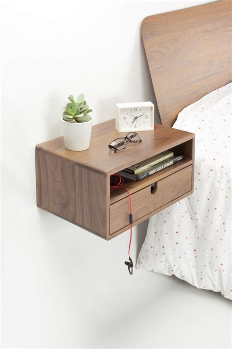 Floating Nightstand With Drawer by Walnut Floating Nightstand Bedside Table Drawer In Solid
