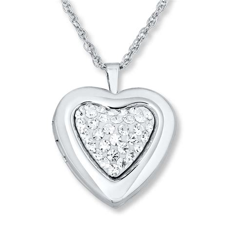 locket necklace white crystals sterling silver